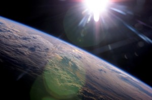 ISS013-E-77965 (5 Sept. 2006) --- A setting sun and Earth's horizon are featured in this image photographed by an Expedition 13 crewmember on the International Space Station.
